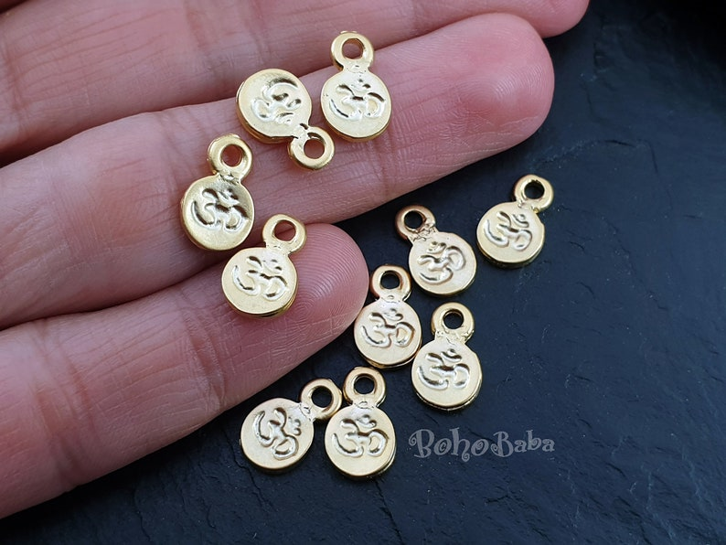 10 Pc Gold Om Charms Coin Charms Coin Findings Yoga Aum Round Om Symbol Drop Charms Gold Coins Om Coin Charms Rustic Tibetan Jewelry