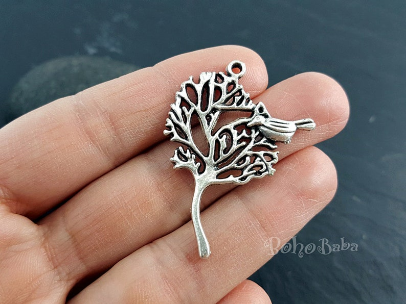 Bird on a Tree Silver Jewelry Silver Necklace 4 Pc Tree of Life Charms Silver Tree Silver Tree Charms Tree  Charms