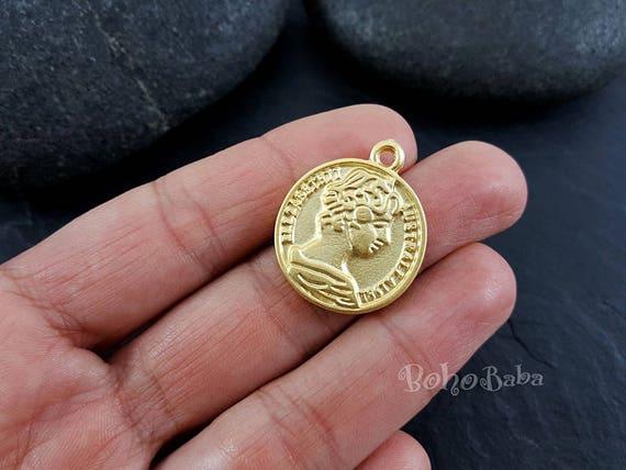 2 Pc Gold Münze Anhänger Münze Anhänger Münze Medaillon Etsy