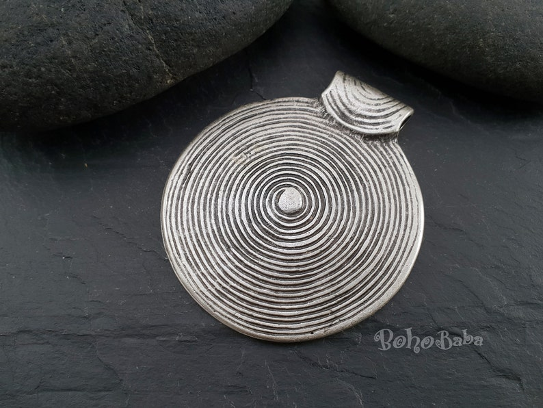 Mandala Necklace 1 Pc Tribal Jewelry Large Disc Pendant Silver Plated Round Pendant Large Silver Pendant Tribal Pendant Ethnic