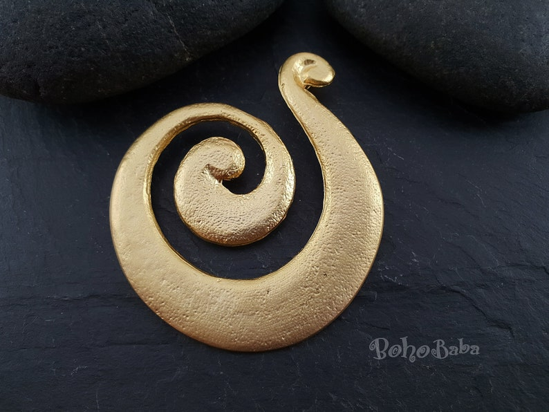 Tribal Jewelry Large Focal Pendant Ethnic Pendant Large Gold Pendant 1 Pc Large Spiral Necklace Gold Pendant Gold Swirl Pendant