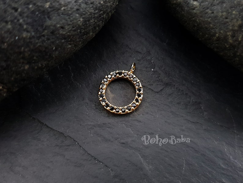 Black Zirconia Charms Dainty Necklace Tiny Hoop Pave Charms Tiny Gold Loop Bridal Jewelry Micro Pave Charms Gold Hoop Cubic Zirconia
