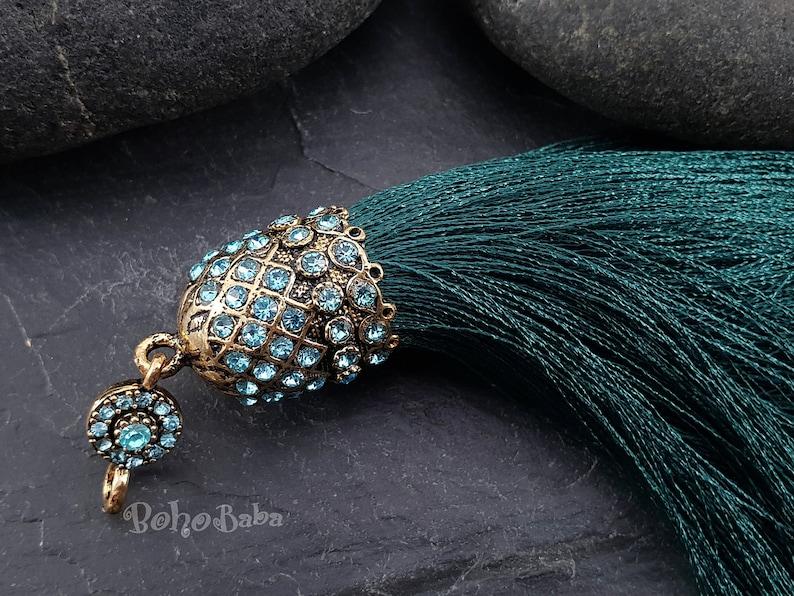 Large Tassel Tassel Necklace Turkish Jewelry Bohemian Jewelry Tassel Findings Green Silk Tassel Pendant Bronze Tassel Cap