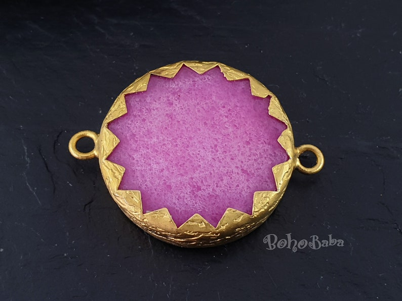 Gemstone Pendant Bracelet Findings Gold Plated Black Stone Connector Pendant 10mm Black Dyed Jade Pendant Gemstone Bracelet 1 Pc