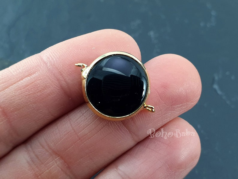 Gemstone Pendant Gemstone Bracelet Bezel Connector Connector Station Onyx Black Jade Connector Round Connector 16mm Gold Plated