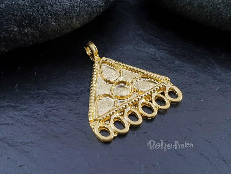 Triangle Findings Gold Tribal Connector Multi Loop Earrings Chandelier Earrings Multi Strand Connector Bohemian Jewelry Gold Earrings