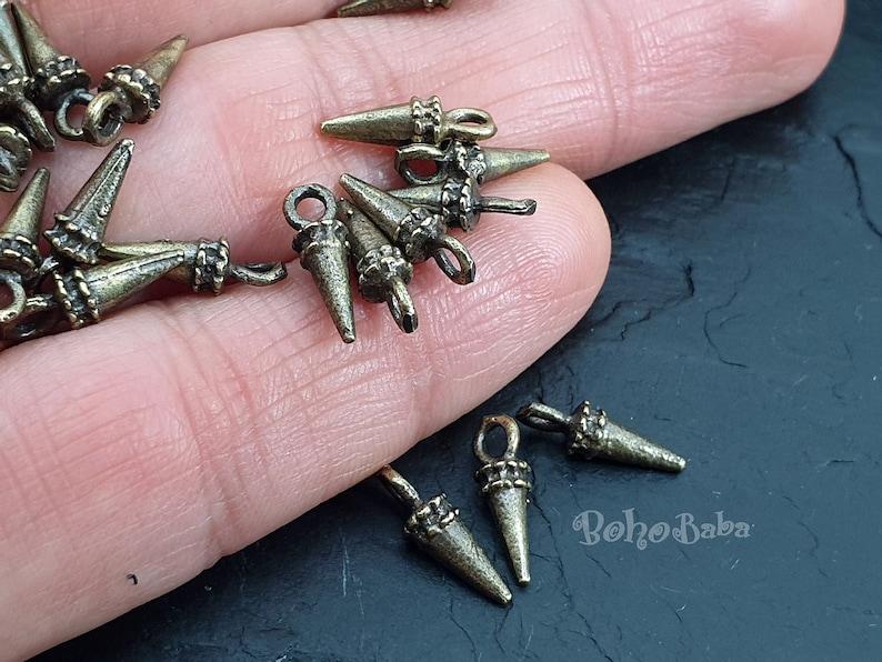 Spike Drop Charms Tribal Charms Bronze Spike Charms Bronze Jewelry Mini Spike Charms Bronze Spike 20 Pc Drop Charms Tribal Jewelry