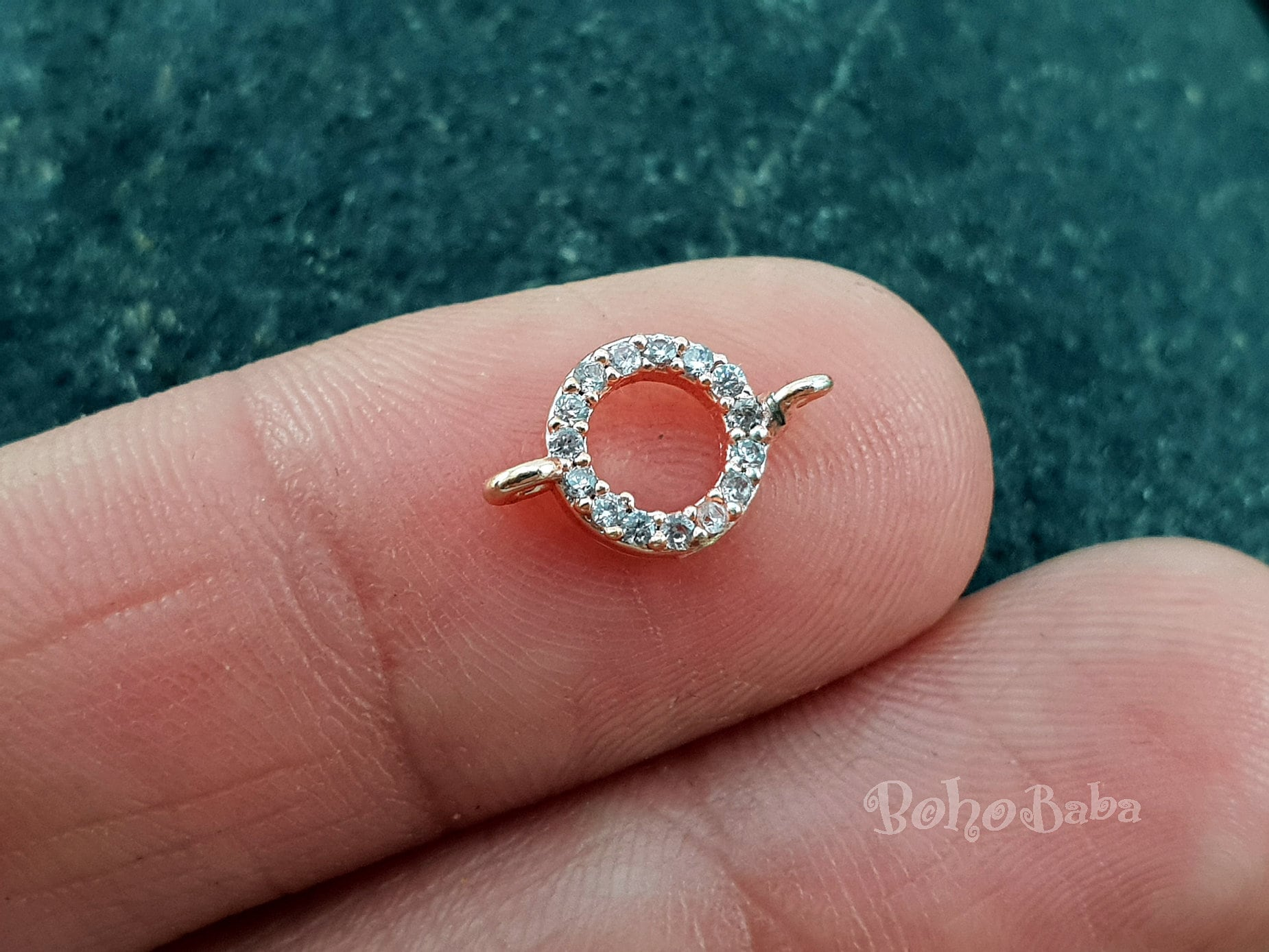 Tiny Hoop Pave Charms Dainty Bracelet Micro Pave Charms   Etsy