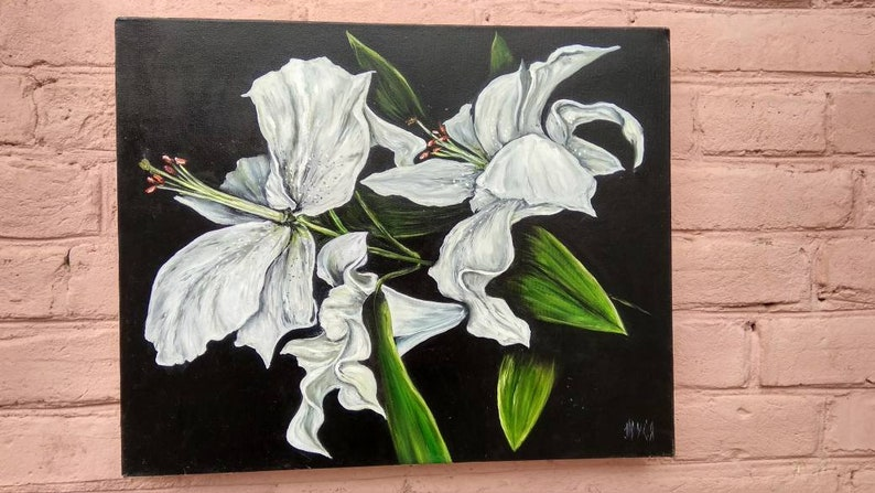White lilies. Lilies art Original oil painting Lilies painting art Modern home decor Oil painting on canvas