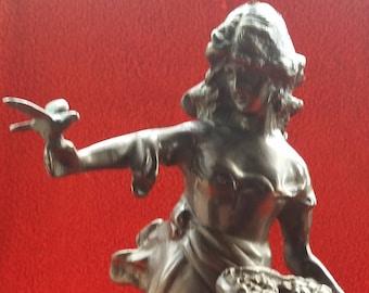 Victorian bronze statue flower lady & bird