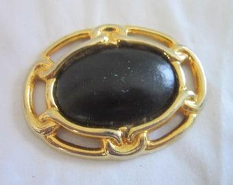 Vintage Large Gold Tone Metal & Black Dress Belt Buckle