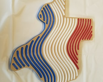 Texas red white and blue wall art