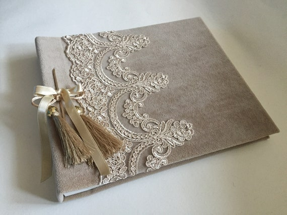 Brown Wedding Wishes Book Handmade Book Lace Guest Book Baby Shower Book Elegant Wishes Book Memory Book