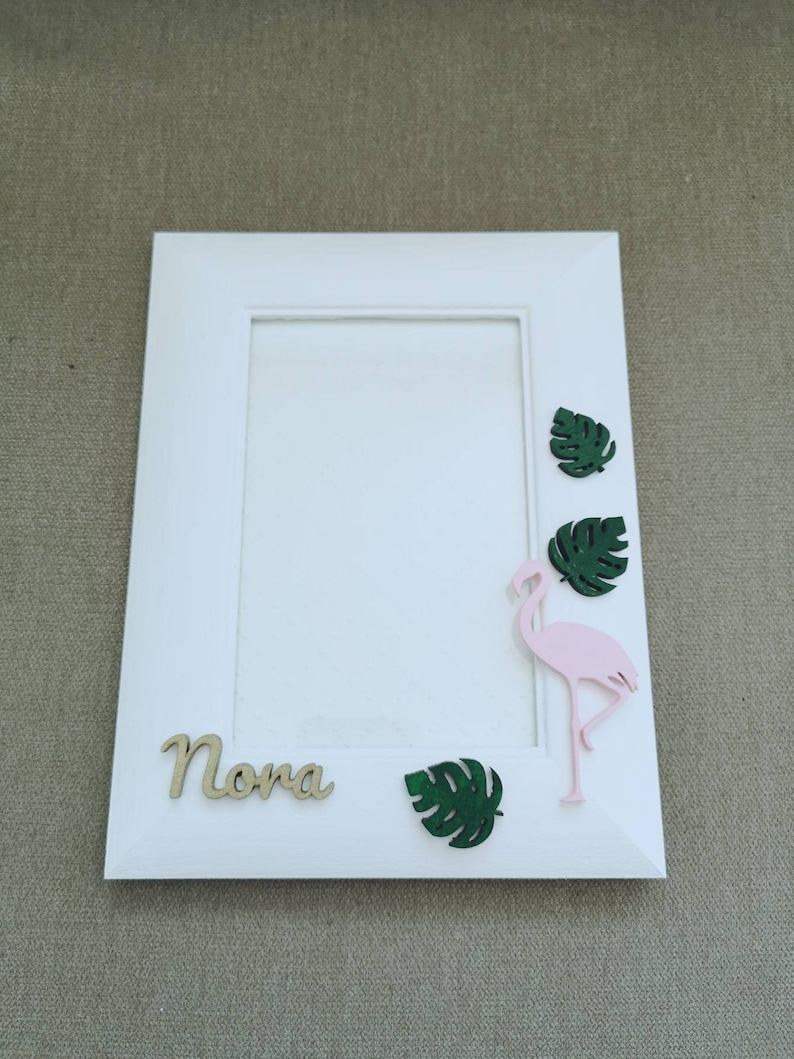 pink flamingo white frame white and unique photo frame gift for a girl Wooden frame Personalized photo frame 4x6 Picture Frame