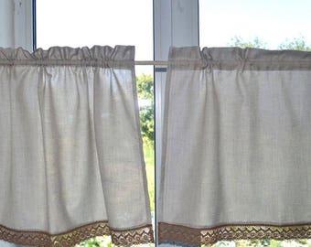 Linen curtains kitchen, beige linen valance, linen cafe curtain, kitchen curtains, custom curtains, window curtains