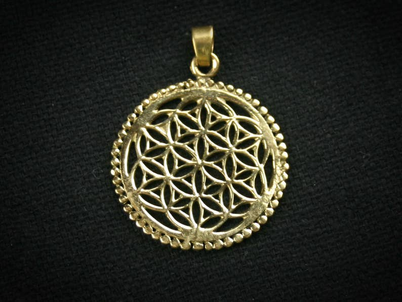 1 piece 31x31mm Tribal Macrame Material Brass Pendant Flower of Life Type2