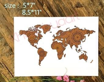 Mandala World Map Instant Download Wall Art Printable