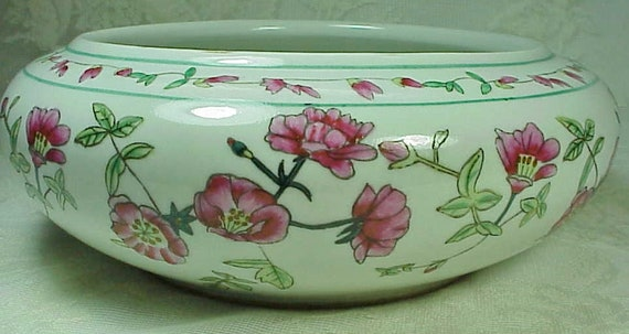 New England Pottery Round Low Pink Flower Design Shallow Etsy