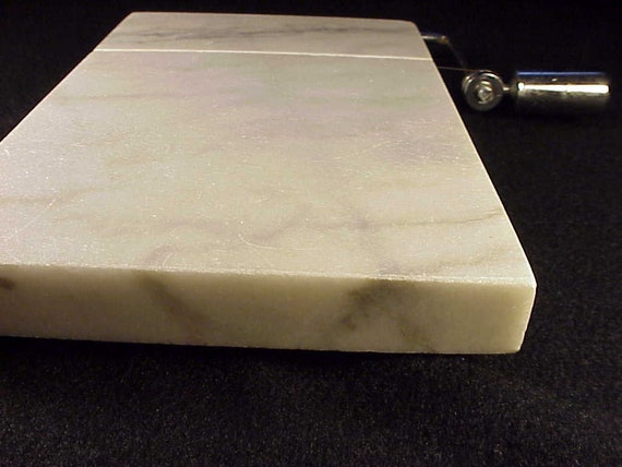 "8/"" x 5/"" Genuine Marble Cheese Slicer Cutting Board Stainless Steel 2 Extra Wires"