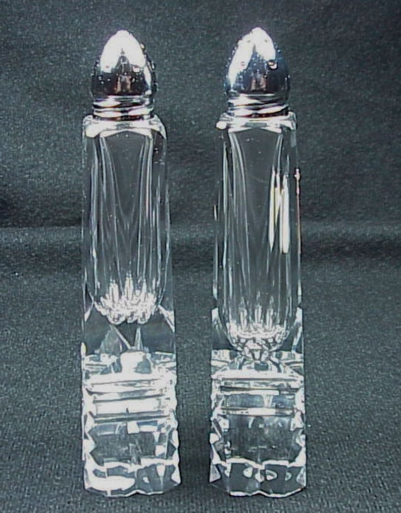 FISHER Bavaria WOW Cut Crystal Salt Pepper Shakers 6 Tall Made in Western Germany