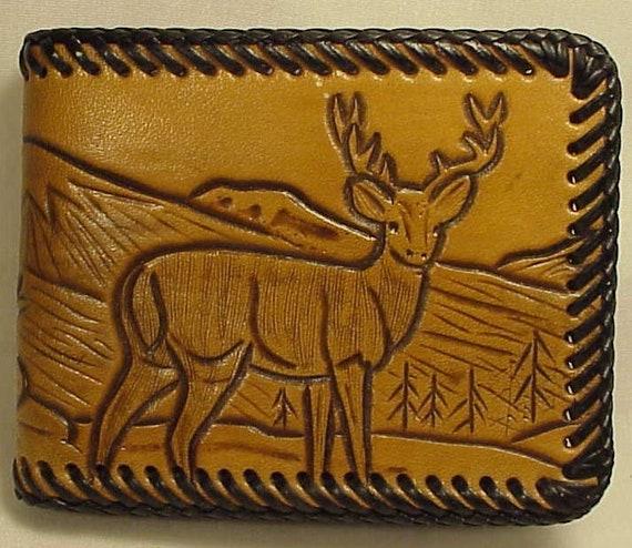 Personalized Deer Genuine Leather Mens Bi-fold Wallet