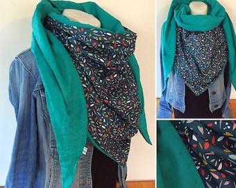 72c45f1b21e Maxi chèche été  châle   écharpe   foulard turquoise pétrole
