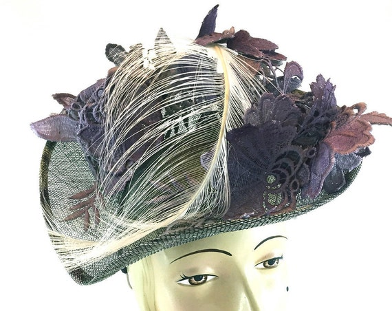 Purple Guipure lace on sinamay percher with burnt ostrich plume