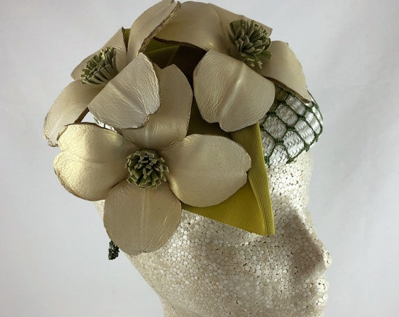 Handmade leather dogwood flowers on white straw button hat with antique chartreuse ribbon and green veiling overlay