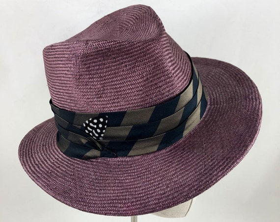 Amethyst purple straw fedora with vintage tie silk band and guinea feather