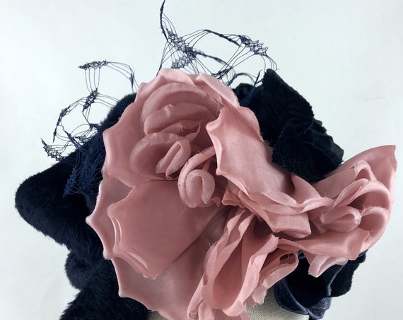 Frida Kahlo-style floral crown with pink and navy vintage silk flowers and navy silk veiling