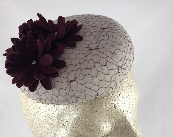 Pale gray velour felt button percher with fabulous vintage burgundy veiling and burgundy felt flowers