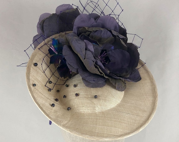 Natural straw percher with large handmade silk flowers, freshwater pearls, and vintage veiling
