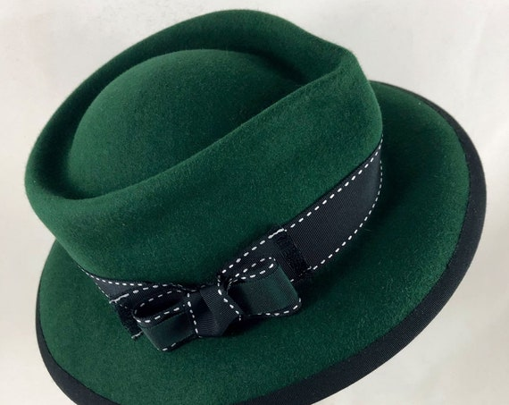 Forest green velour felt fedora with double ribbon trim