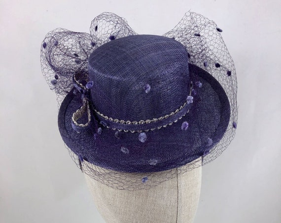 Lavender straw boater percher with metallic braid trim and vintage silk dot veiling
