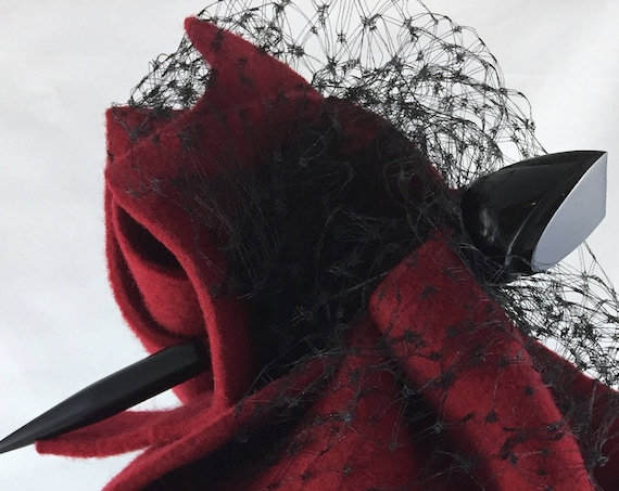 Hand-sculpted red felt perching hat with vintage black silk veiling and black Bakelite hat pin