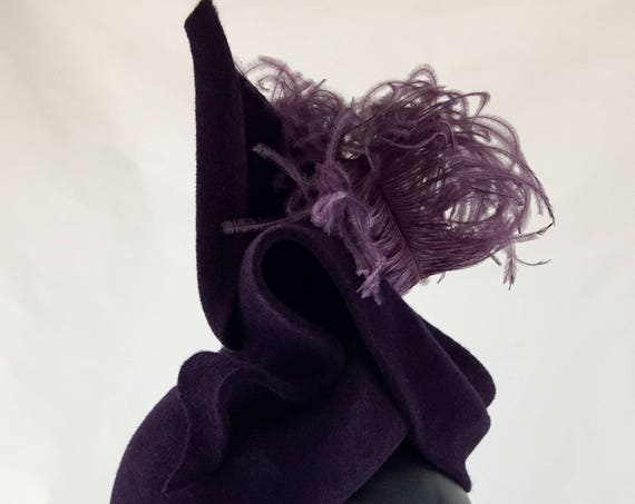 Purple velour felt 1940's style perching hat with curled ostrich plume