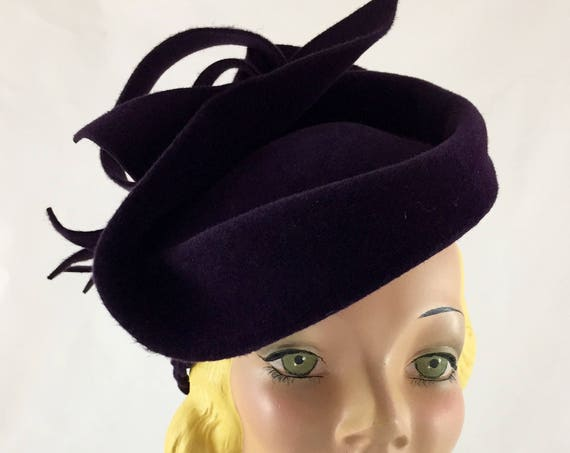 Purple sculpted 1940's style velour felt perching hat with felt trim and braided bandeau