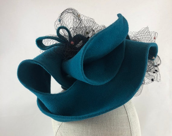 Turquoise sculpted velour felt fascinator headpiece with vintage chenille dot veiling and felt trim