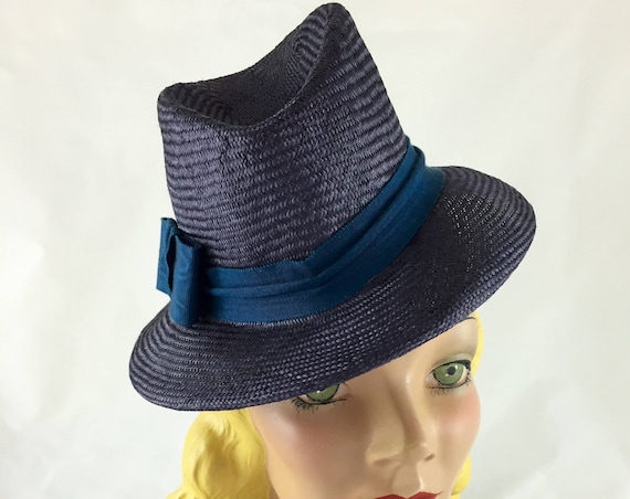 Charcoal gray 1940's style perching fedora with peacock blue ribbon band and bandeau