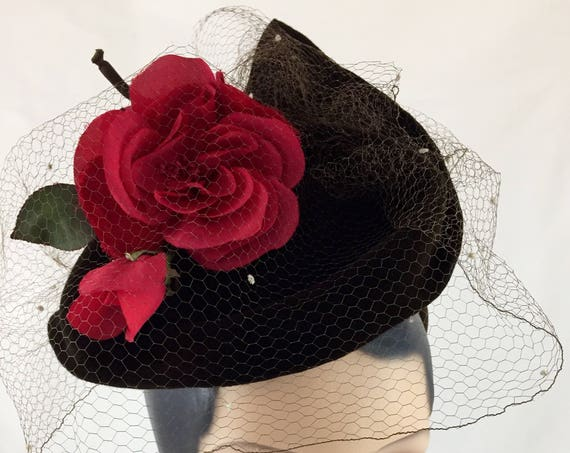 Chocolate brown 1930's/1940's style sculpted velour felt tilt hat with vintage silk rose and veil