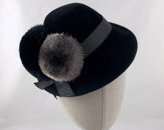 Black velour felt percher hat with vintage pompoms and gorgeous ribbon trim