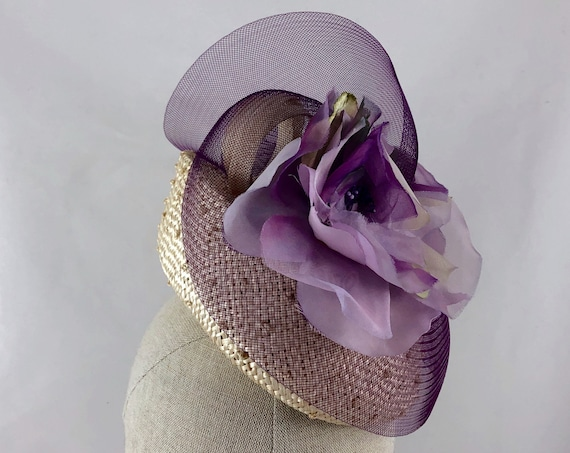 Knotted parasisal straw pillbox hat with vintage purple silk flowers and purple crinoline swirl