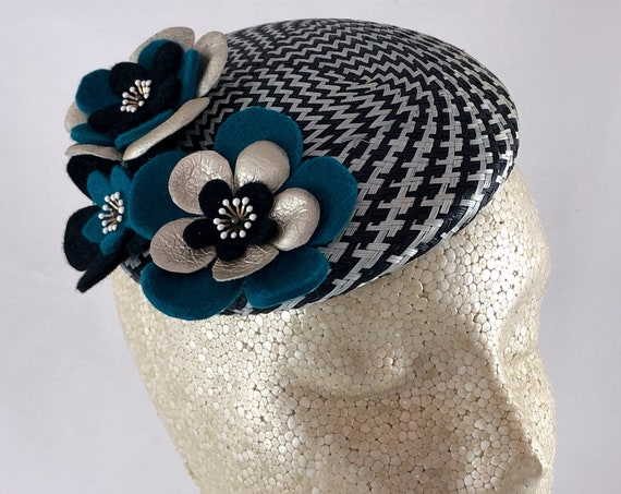Black and white check straw button perching fascinator with handmade felt and leather flowers
