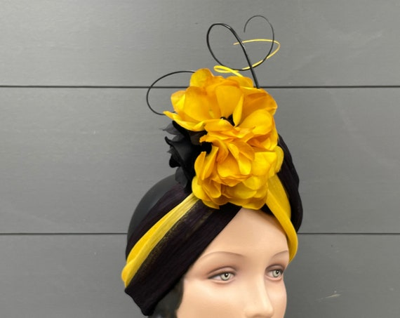 Black and mustard gold silk abaca turban wrap with vintage silk flowers and curled quills