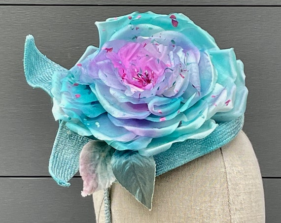 """Aqua blue """"tie-dyed"""" silk rose fascinator with vintage silk and velvet leaves on a straw-wrapped headband"""