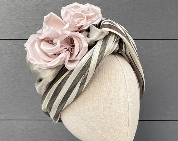 Striped silk abaca turban with pink silk rose and antique lamé ribbon