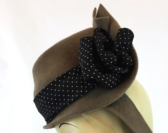 Mushroom brown mini fedora percher with vintage black polka dot ribbon