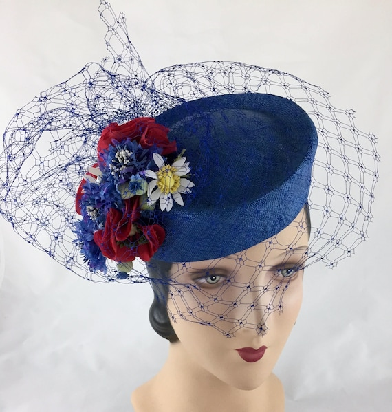 1950's style blue straw pillbox hat with vintage silk flowers and veiling