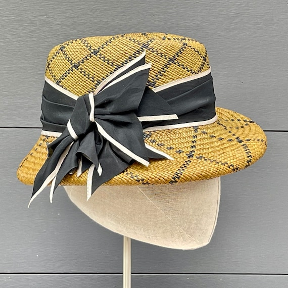 Chartreuse-olive green and black patterned panama straw fedora with antique silk ribbon band and ornament