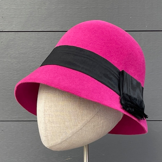 Classic 1920's style hot pink velour felt cloche with antique black moiré ribbon